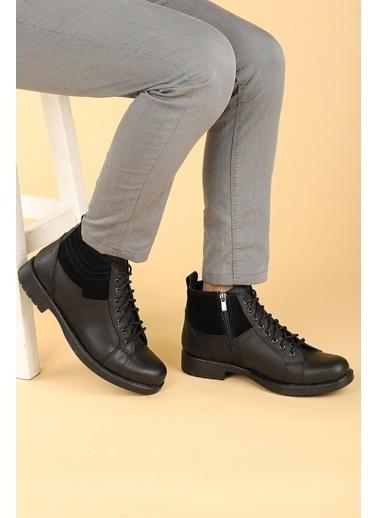 Ayakland Ayakland 500 Termo Taban ıçi Kürklü Fermuarlı Erkek Bot Ayakkabı Siyah